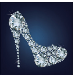 shoes shape made up a lot of diamond on the black vector image