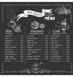 coffee menu on chalkboard vector image