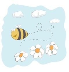 Cute bee flying around flowers vector image