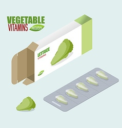 Lettuce pills in pack Vegetarian vitamins Diet vector image vector image
