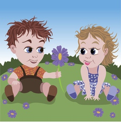 little boy giving flower to girl vector image vector image