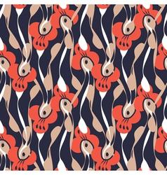 retro floral print vector image vector image