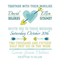 Wedding Vintage Invitation - Heart and Arrows vector image vector image
