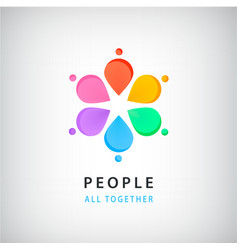 abstract people in circle logo global vector image vector image