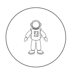 astronaut icon in outline style isolated on white vector image vector image