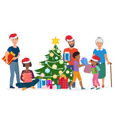 big happy family decorates the christmas tree vector image vector image