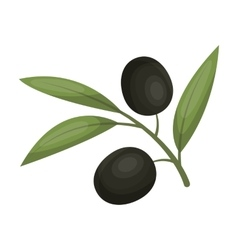 Branch of olives icon in cartoon style isolated on vector