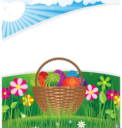 Easter basket on the morning lawn vector image