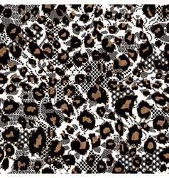 Leopard fur with lace background vector image vector image