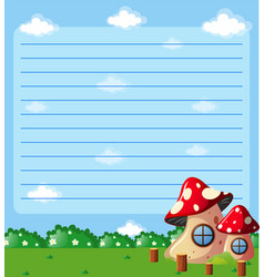 paper template with mushroom houses in park vector image