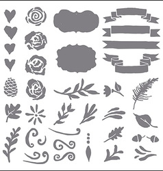 Set of plant elements for design vector image vector image
