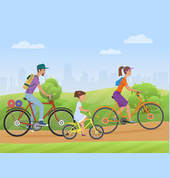 young family with girl kid riding a bikes on the vector image vector image