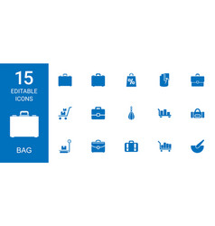 15 bag icons vector