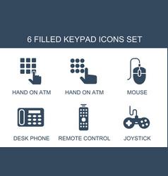 6 keypad icons vector