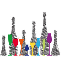 Alcoholic bottles background vector