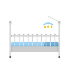 baby bed with toys icon flat style vector image