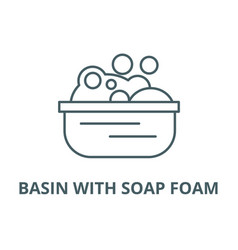 basin with soap foam line icon basin with vector image