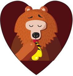 bear eating sweet honey inside of red heart vector image