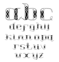 Beautiful celtic font with patterns vector