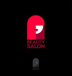 beauty salon logo glamour girl face neon light vector image