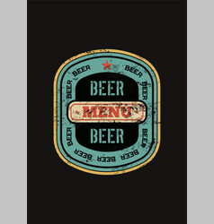 beer menu design with retro beer label vector image