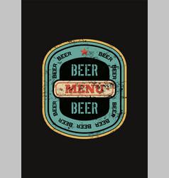 Beer menu design with retro beer label vector