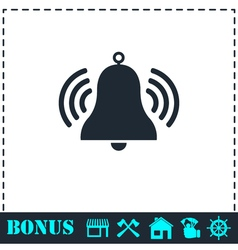 Bell icon flat vector