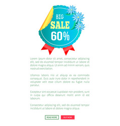 Big sale 60 off round advert label on web poster vector