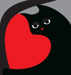Black cat and red heart vector