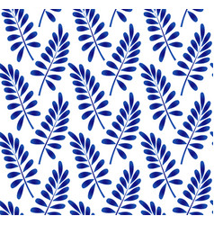 blue leaves pattern vector image