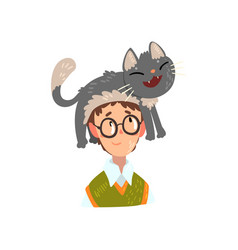Boy in glasses and his funny cat adorable pet vector