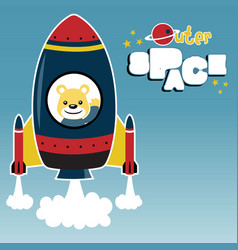 Cartoon a rocket blast off to space with cute vector