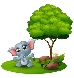 cartoon baby elephant sitting under a tree on a wh vector image