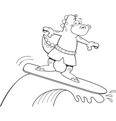 Cartoon dinosaur surfing vector image
