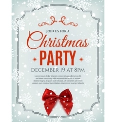Christmas party poster template with red bow vector