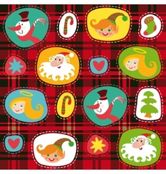 Christmas set plaid tartan pattern background vector