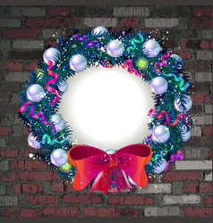 Christmas wreath on old brick wall vector