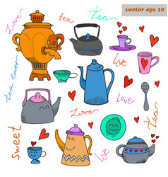 colored funny cartoon tea dish set with lettering vector image