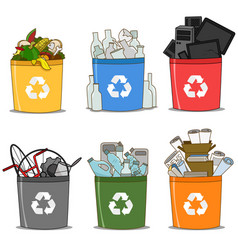 Colorful recycle bin vector
