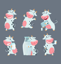 cow cartoon cute farm milk animal character in vector image