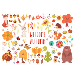 Cute animals and plants set vector