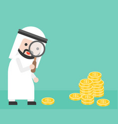 Cute arab businessman looking money through vector