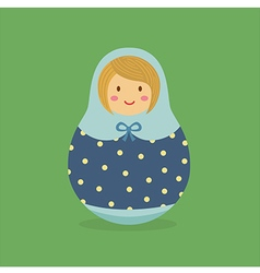 Cute Russian Doll Blue Polkadot vector