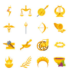 Design attributes and greek icon set vector
