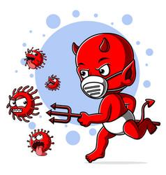 Devil bapursue coronavirus covid 19 vector