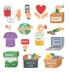 donate money set outline icons help symbols vector image