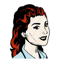 drawing portrait woman hairred pop art vector image