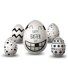 eggs for happy easter day different texture vector image
