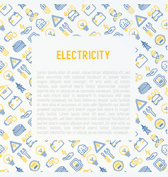 electricity concept with thin line icons vector image