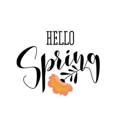 Elegant hello spring lettering and pink flower vector